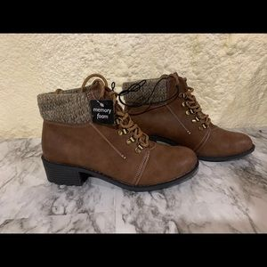 Brown Memory Foam Ankle Combat Lace Up Boots